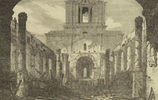 Etching showing the extent of fire damage: the walls and tower at St Anne's are still standing but no roof,