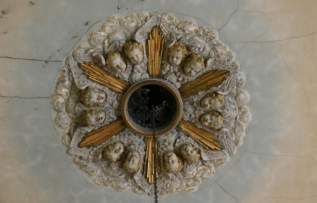 Decorative ceiling rose in the nave