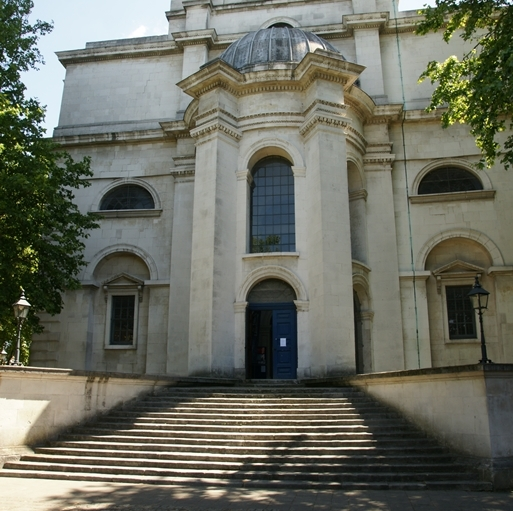 Exterior view, showing the steps leading to the door.