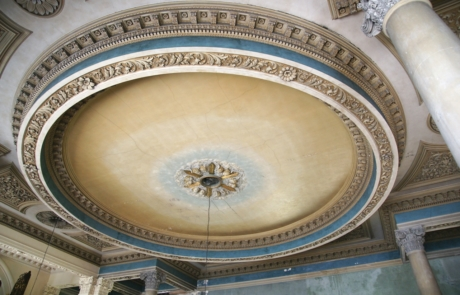 The ceiling in the nave, featuring decorative plasterwork