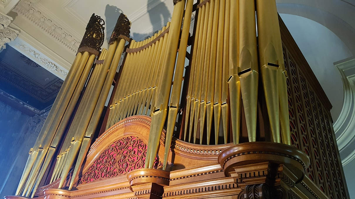 View of the organ pipes from gallery level