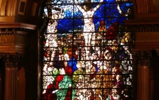 Enamelled glass window